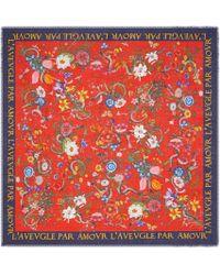Gucci - Flora Snake Print Wool Silk Shawl - Lyst