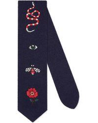 Gucci Cravatta in lana ricamata - Blu