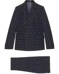 Gucci Anzug aus Wolle mit GG Streifen Print - Blau