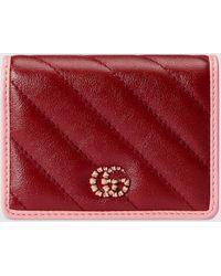 Gucci - 【公式】 (グッチ)〔GGマーモント〕カードケース ウォレット(コイン&紙幣入れ付き)ピンク&レッド レザーレッド - Lyst