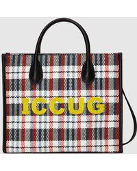 Gucci 【公式】 (グッチ)iccugエンブロイダリー付き スモール トートバッグブルー&ホワイト チェックブラック