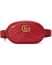 Gucci GG Marmont Leather Belt Bag - Red