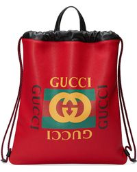 Gucci - Print Leather Drawstring Backpack - Lyst