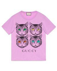 Gucci - Mystic Cat And Guccy Print T-shirt - Lyst