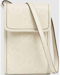 Gucci Minitasche aus geprägtem GG Leder - Weiß