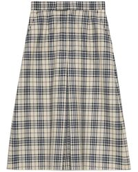 Gucci Check Wool Pleated Pants - Blue