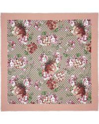 Gucci Scialle in seta e modal con stampa GG Blooms - Rosa