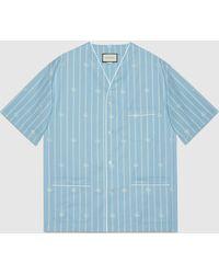 Gucci 【公式】 (グッチ)ダブルg ストライプ コットン オーバーサイズシャツライトブルー&アイボリーブルー