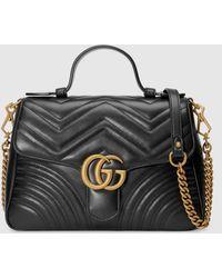 Gucci - 【公式】 (グッチ)〔GGマーモント〕スモール トップハンドルバッグブラック レザーブラック - Lyst