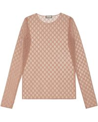 Gucci GG Embroidered Tulle Long-sleeve Top - Multicolour