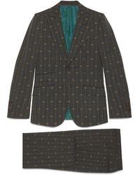 Gucci Traje de lana Heritage con raya GG - Gris