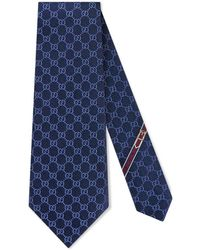 Gucci Gg Pattern Tie - Blue
