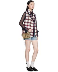 Gucci Check Tweed Sleeveless Jacket - White