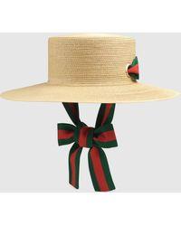 Gucci Hut aus Papier mit breiter Krempe - Mehrfarbig