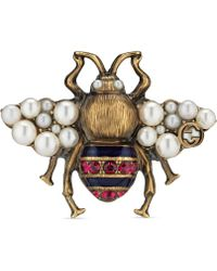 Gucci Bee Ring With Crystals And Pearls