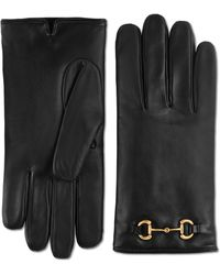 Gucci Leather Gloves With Horsebit - Black