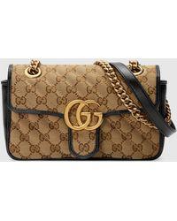 Gucci - グッチ公式〔GGマーモント〕ミニ バッグオリジナル GGキャンバス/ブラックcolor_descriptionGGキャンバス - Lyst