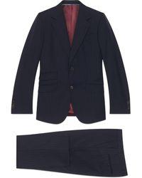 Gucci Anzug mit körpernaher Passform und Nadelstreifen - Blau