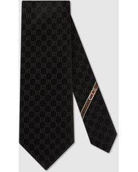 Gucci GG Pattern Silk Tie - Black
