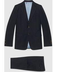 Gucci 【公式】 (グッチ)ストレートフィット ビー(ハチ)ウールギャバジン スーツインクブルー ウールブルー