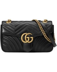 Gucci Women's Black Gg Marmont Medium Leather Shoulder Bag