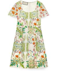 Gucci New Flora Print Cotton Midi Dress - White