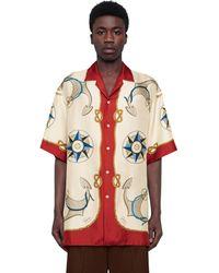Gucci Übergroßes Bowling-Shirt mit nautischem Print - Weiß