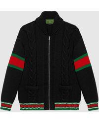 Gucci - グッチ公式diy ユニセックス ウール ボンバージャケットブラックにレッドのアルファベットcolor_descriptionウェア - Lyst