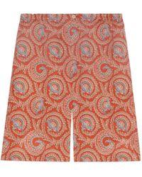 Gucci Short con estampado paisley de abanico - Naranja
