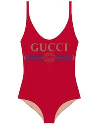 Gucci Sparkling Swimsuit With Logo - Red