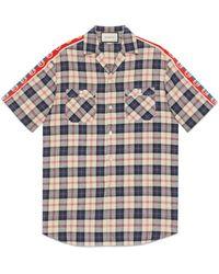 Gucci Übergroßes Bowling Shirt aus kariertem Baumwoll Leinen - Blau