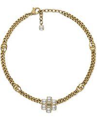 Gucci Collar con Doble G y perlas - Blanco