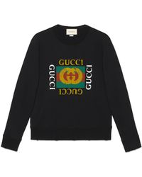 Gucci Cotton Sweatshirt With Logo - Black