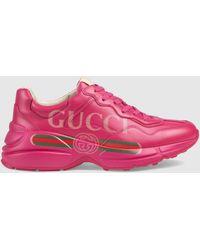 Gucci - Rhyton Logo Leather Sneaker - Lyst