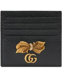 Gucci Leather Card Case With Bow - Pink