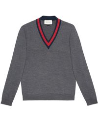 Gucci - Wool V-neck Sweater With Web - Lyst