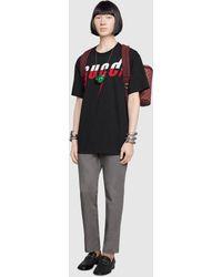 Gucci T-Shirt mit Blade-Print - Schwarz