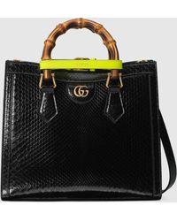 Gucci 【公式】 (グッチ)〔グッチ ダイアナ〕スモール パイソン トートバッグブラック ブラック