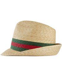 Gucci Web Stripe Woven Trilby Hat - Natural
