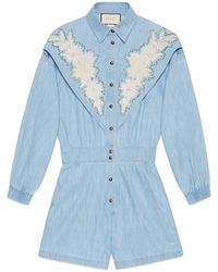 Gucci Women's Jumpsuit With Ny Yankeestm Patch - Blue