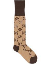 Gucci GG Pattern Cotton Blend Socks - Natural