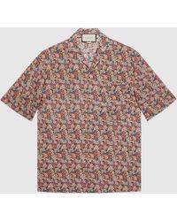 Gucci グッチリバティ ロンドン フローラル ボウリングシャツ - ピンク