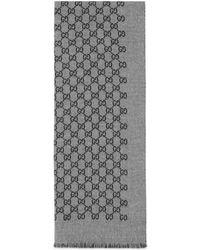 Gucci Sciarpa in doppia lana jacquard con motivo GG - Grigio