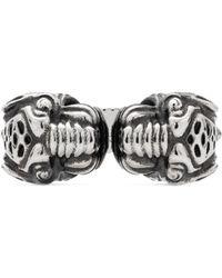 12286da37 Lyst - Gucci Thin Silver Ring With Feline Head in Metallic for Men
