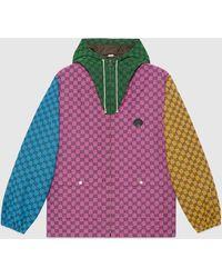 Gucci 【公式】 (グッチ)GG マルチカラー キャンバス フーデッド ジャケットマルチカラーピンク