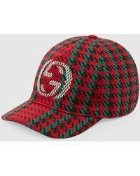 Gucci Baseballkappe mit Hahnentrittmuster und GG - Rot