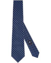 Gucci Corbata de seda con GG y tréboles - Azul