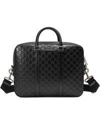 Gucci Aktentasche aus Signature Leder - Schwarz