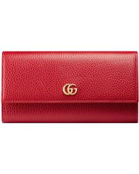 Gucci Leather Continental Wallet - Red