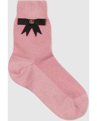 Gucci Socken aus Baumwollmischung mit GG Schleife - Pink
